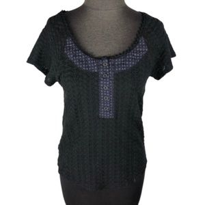 Free People Crochet Style Top Black Stretch Med